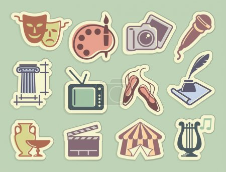 Culture and Art vector icons on stickers in retros...