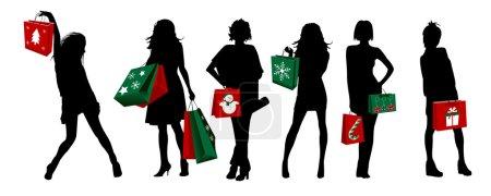 Christmas silhouette girls shopping