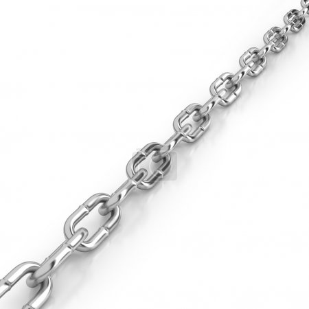 Photo for Diagonal length of stainless steel chain on a white background - Royalty Free Image
