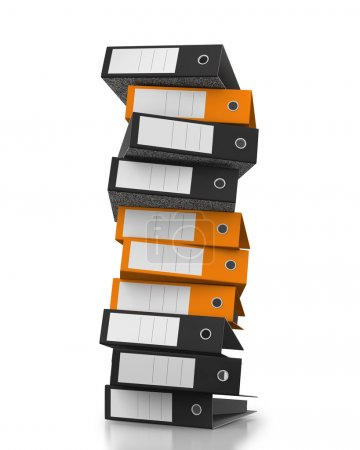Office folders stacked on white background