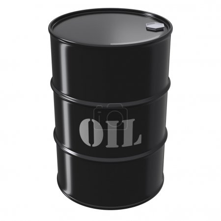 Single black oil barrel on white background