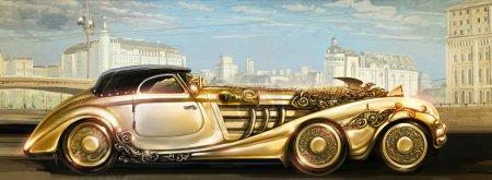 Futuristic gold machine.