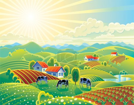 Illustration for Vector illustration. Rural summer landscape. A lot of details: the flowers and hills, cows and garden. Bright colors for the transfer of the summer mood. - Royalty Free Image