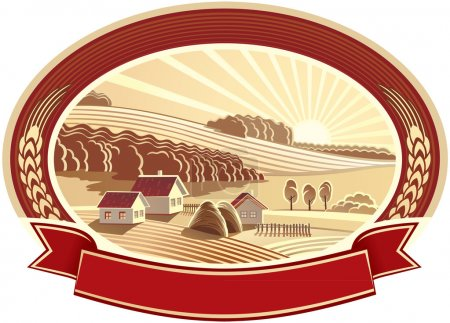 Illustration for Vector illustration of farming agriculture, the sunny summer landscape. Good choice for the logo or trademark - Royalty Free Image