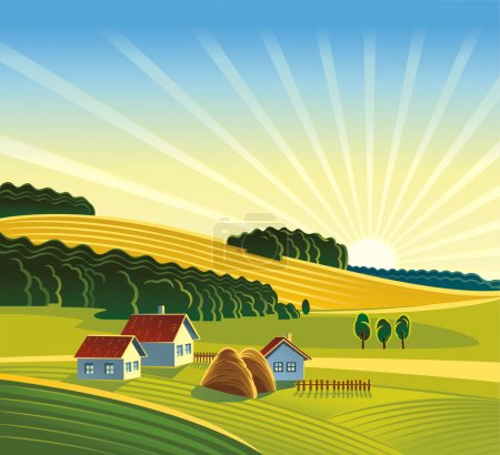 Illustration for The illustration of sunny country landscape with the village houses and haystacks - Royalty Free Image