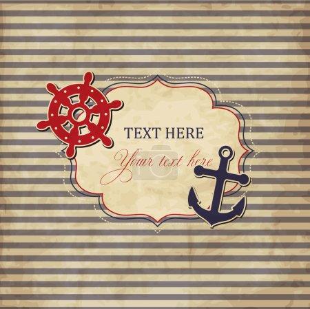 Illustration pour Carte nautique vintage avec cadre, ancre et roue - image libre de droit