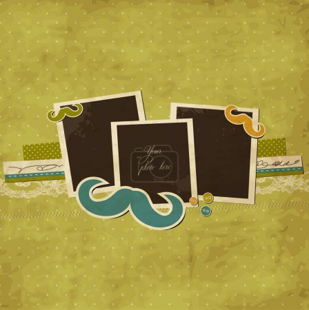 Illustration for Stylized vintage scrap template with mustache - Royalty Free Image