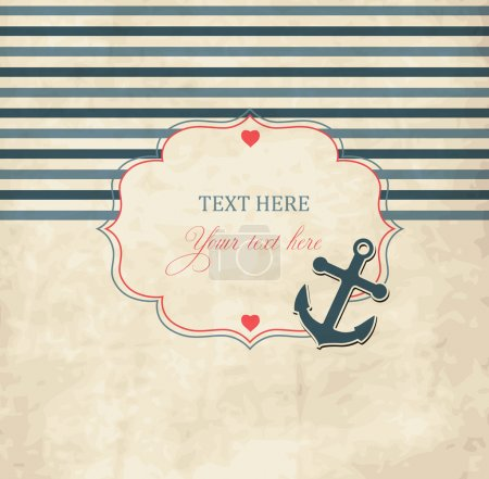 Illustration for Vintage scrap nautical card with frame - Royalty Free Image