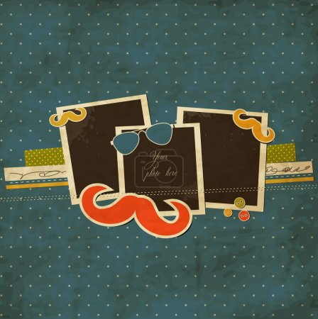 Illustration for Mustache and sunglasses scrap card with photo frames - Royalty Free Image