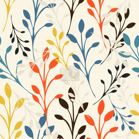 Illustration for Seamless floral colorful pattern with leaves - Royalty Free Image