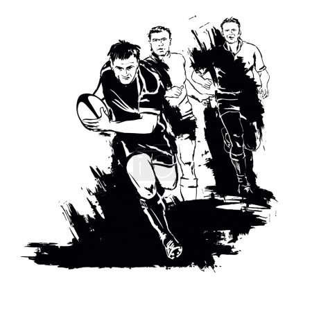 Grunge rugby silhouette...
