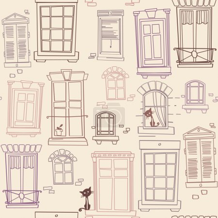 Illustration with windows, seamless pattern