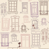 Illustration with windows seamless pattern