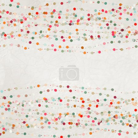 Green and beidge vintage card, polka dot design. A...