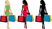 Three types of fashionable woman with shopping bags