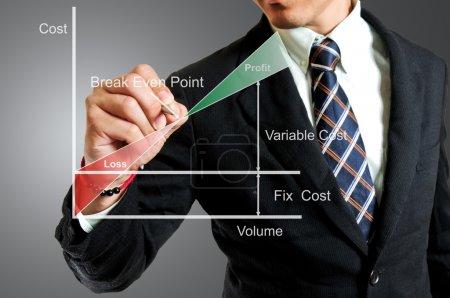 Photo pour Homme d'affaires d'écriture pour explique le seuil de rentabilité en studio - image libre de droit