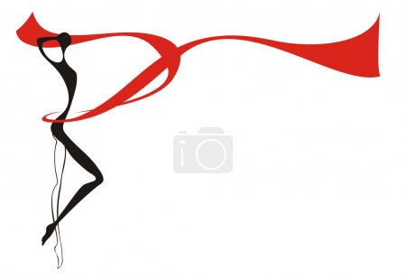 Silhouette of young woman and red ribbon