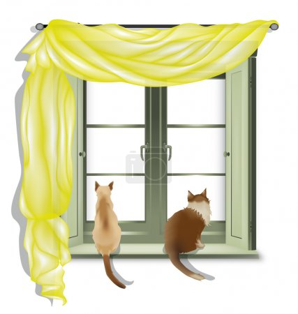 Illustration for Two cats on inner window sill looking out, isolated on white background - Royalty Free Image