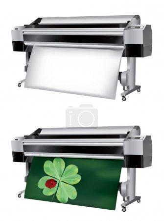 Illustration pour Traceur avec rouleau de papier non imprimé et imprimé avec coccinelle sur papier quadrillé - image libre de droit