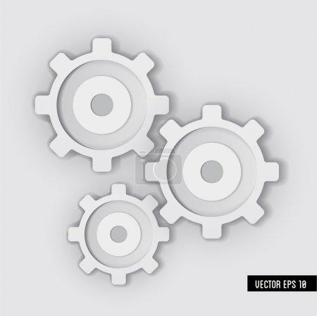 Illustration pour Système d'engrenages blancs. Illustration vectorielle . - image libre de droit