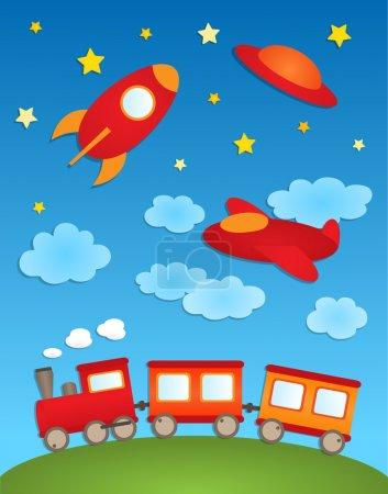 Illustration pour Arrière-plan avec avions et train. Autocollants papier vectoriel - image libre de droit
