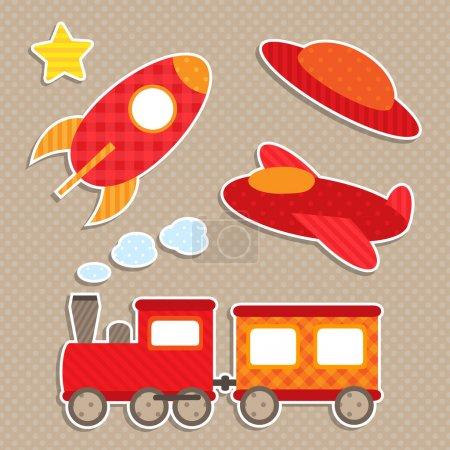 Illustration pour Ensemble d'autocollants de transport colorés vectoriels mignons - image libre de droit