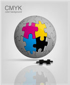 3d globe made from puzzle pieces CMYK vector