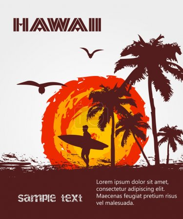 Illustration for Silhouette of the surfer, tropical beach - Royalty Free Image
