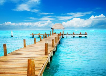 Photo for Vacation in Tropic Paradise. Jetty on Isla Mujeres, Mexico - Royalty Free Image