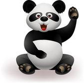 Funny panda waving hand