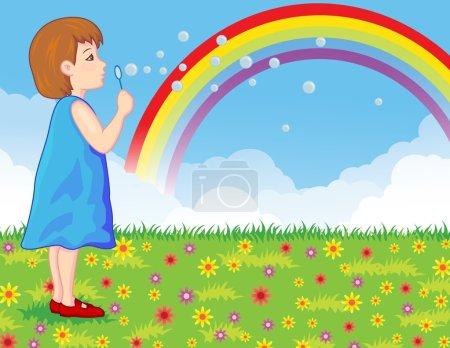 Illustration pour Illustration vectorielle de petites filles soufflant des bulles de savon - image libre de droit