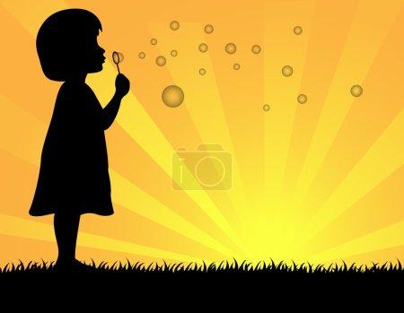 Illustration pour PrintVector Illustration de petites filles soufflant des bulles de savon - image libre de droit