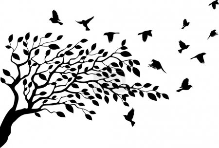 Illustration for Vector Illustration of Tree and bird silhouette - Royalty Free Image