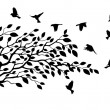 Vector Illustration of Tree and bird silhouette...