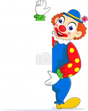 Illustration for Vector illustration of Funny clown with blank sign - Royalty Free Image