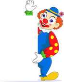 Vector illustration of Funny clown with blank sign