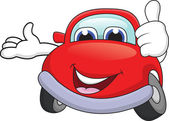 Vector illustration of Car cartoon character with thumb up