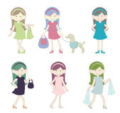 Cute Girl Shopping Cartoon
