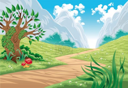 Illustration for Mountain landscape. Cartoon and vector illustration, isolated objects - Royalty Free Image