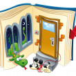 Story book. Funny cartoon and vector scene...