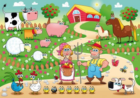 Illustration for Farm Family. Funny cartoon and vector illustration. - Royalty Free Image
