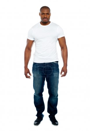 Photo for Masculine african man isolated over white background. Full-length portrait - Royalty Free Image