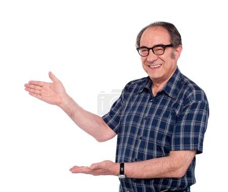 Aged male representing copy space area