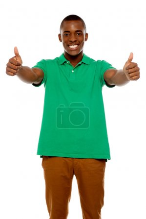 Handsome african showing double thumbs up