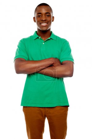 Smiling african guy with crossed arms