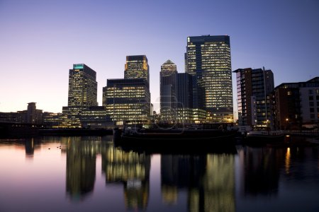 Photo for Office skyscrapers in Canary Wharf at Night. Canary Wharf is the main financial district at London - Royalty Free Image