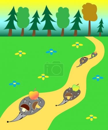 Illustration for Vector Illustration of the hedgehogs gone out a forest and carrying the found apples and mushrooms - Royalty Free Image