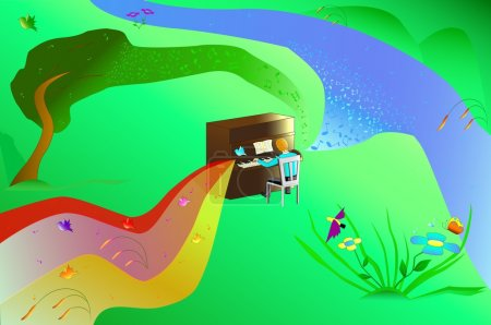 Illustration for Illustration man playing the piano with nature - Royalty Free Image