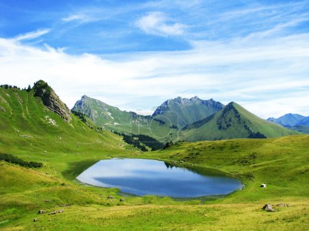 Lake in French Alps mountains
