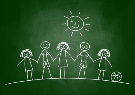 Illustration pour Dessin d'enfants sur tableau noir - image libre de droit